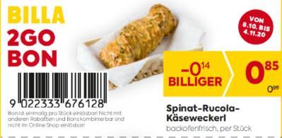 Billa 2GO Bon: Spinat-Rucola-Käseweckerl um € 0,14 billiger.