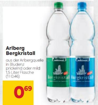 Arlberg Bergkristall Mineralwasser (1,5 l Flasche) in diversen Sorten um € 0,69