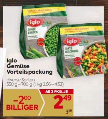 Iglo Gemüse Vorteilspackung in diversen Sorten um € 2,49
