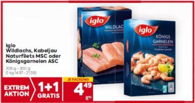 Iglo Wildlachs, Kabeljau Naturfilets MSC oder Königsgarnelen ASC um € 4,49