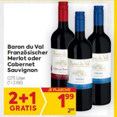 Baron du Val Französischer Merlot oder Cabernet Sauvignon um € 1,99