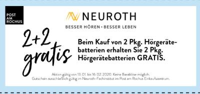 Neuroth Beim Kauf von 2 Pkg. Hörgerätebatterien erhalten Sie 2 Pkg. Hörgerätebatterien GRATIS.