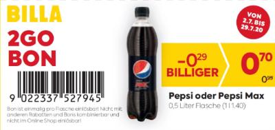 Billa 2GO Bon: Pepsi oder Pepsi Max um € 0,29 billiger.