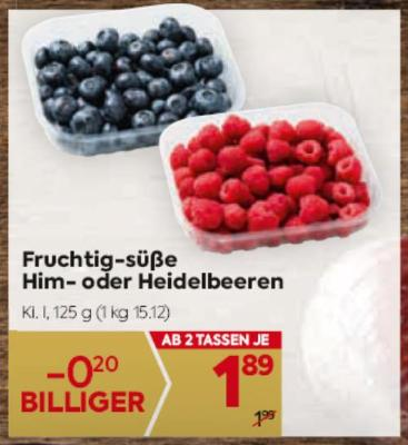 Fruchtig-süße Him- oder Heidelbeeren um € 1,89