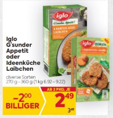 Iglo G'sunder Appetit oder Ideenküche Laibchen in diversen Sorten um € 2,49