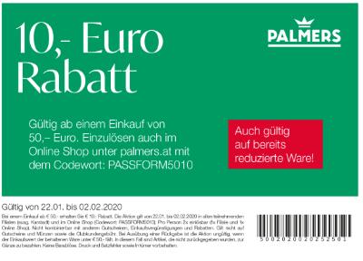 Palmers 10,- Euro Rabatt
