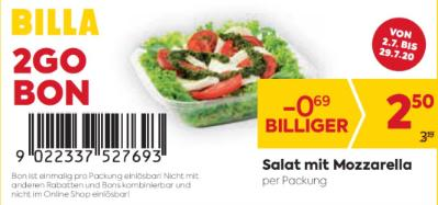 Billa 2GO Bon: Salat mit Mozzarella um € 0,69 billiger.