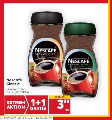 Nescafé Classic in diversen Sorten um € 3,99