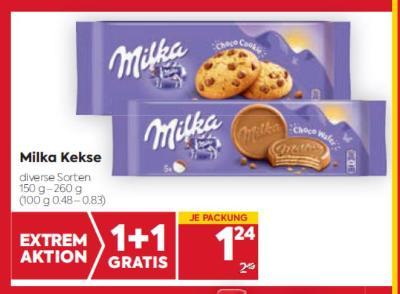 Milka Kekse in diversen Sorten um € 1,24
