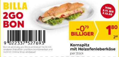 Billa 2GO Bon: Kornspitz mit Holzofenleberkäse um € 0,79 billiger.