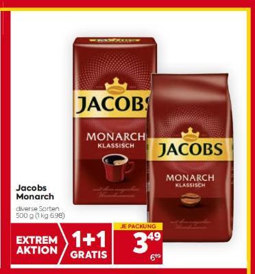 Jacobs Monarch in diversen Sorten um € 3,49