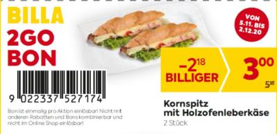 Billa 2GO Bon: Kornspitz mit Holzofenleberkäse (2 Stück) um € 2,18 billiger.