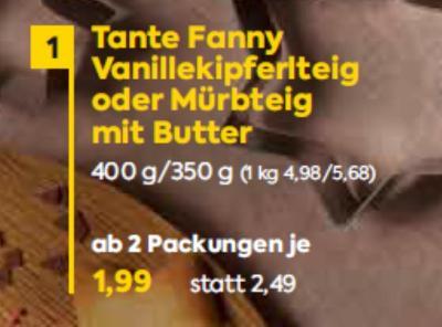 Tante Fanny Vanillekipferlteig oder Mürbteig mit Butter um € 1,99