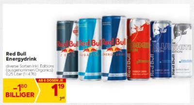 Red Bull Energydrink in diversen Sorten (ausgenommen Organics) um € 1,19