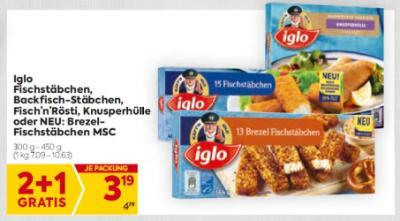 Iglo Fischstäbchen, Backfisch-Stäbchen, Fisch'n'Rösti, Knusperhülle oder NEU: Brezel-Fischstäbchen MSC um € 3,19