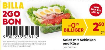 Billa 2GO Bon: Salat mit Schinken und Käse um € 0,29 billiger.