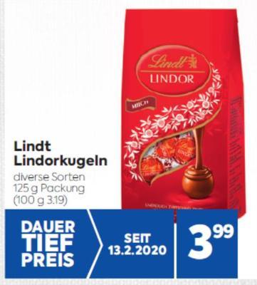 Lindt Lindorkugeln in diversen Sorten um € 3,99