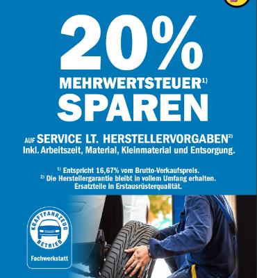 20 % Mehrwertsteuer sparen auf Service