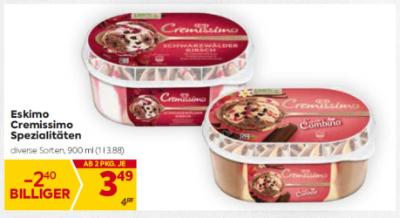 Eskimo Cremissimo Spezialitäten in diversen Sorten um € 3,49