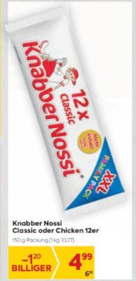 Knabber Nossi Classic oder Chicken 12er um € 4,99