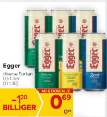 Egger Bier in diversen Sorten um € 0,69