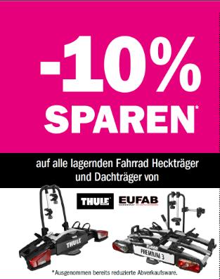 10% sparen auf alle lagernden Fahrrad Heckträger und Dachträger