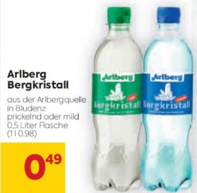 Arlberg Bergkristall Mineralwasser (0,5 l Flasche) in diversen Sorten um € 0,49