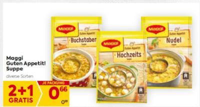 Maggi Guten Appetit! Suppen in diversen Sorten um € 0,66