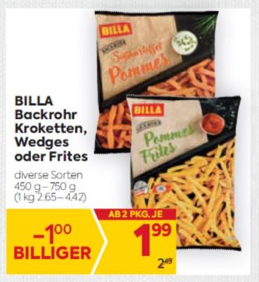 Billa Backrohr Kroketten, Wedges oder Frites in diversen Sorten um € 1,99