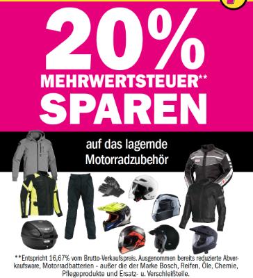 20% MwSt sparen auf das komplette Motorradzubehör