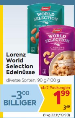 Lorenz World Selection Edelnüsse in diversen Sorten um € 1,99
