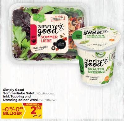 Simply Good Sommerliebe Salat inkl. Topping und Dressing deiner Wahl um € 2,50
