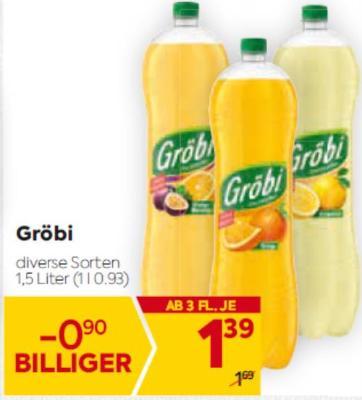 Gröbi Limonade in diversen Sorten um € 1,39