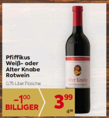 Lenz Moser Pfiffikus Weiß- oder Alter Knabe Rotwein um € 3,99