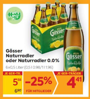 Gösser Naturradler oder Naturradler 0.0% um € 0,98