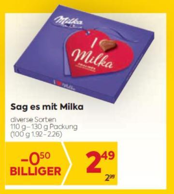 Sag es mit Milka Pralinen in diversen Sorten um € 2,49