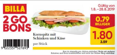 Billa 2GO Bon: Kornspitz mit Schinken und Käse um € 0,79 billiger.