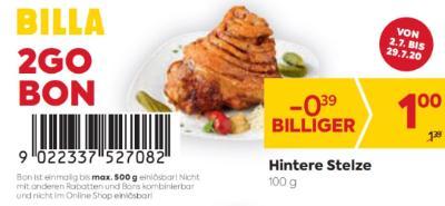 Billa 2GO Bon: Hintere Stelze um € 0,39 billiger.