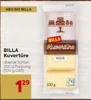 BILLA Kuvertüre in diversen Sorten um € 1,29