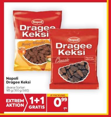 Napoli Dragee Keksi in diversen Sorten um € 0,99