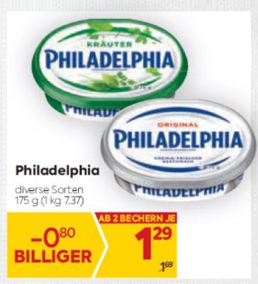 Philadelphia Frischkäse in diversen Sorten um € 1,29