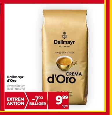 Dallmayr d'Oro in diversen Sorten um € 9,99