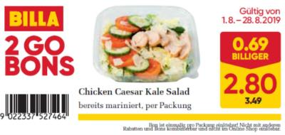 Billa 2GO Bon: Chicken Caesar Kale Salad um € 0,69 billiger.