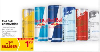 Red Bull Energydrink in diversen Sorten (inkl. Editions, ausgenommen Organics) um € 1,29