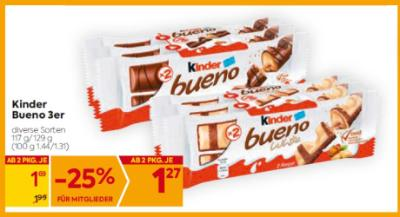 Kinder Bueno 3er in diversen Sorten um € 1,69