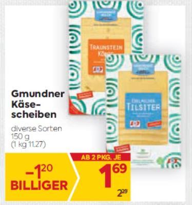 Gmundner Käsescheiben in diversen Sorten um € 1,69