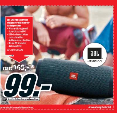 JBL Charge Essential tragbarer Bluetooth-Lautsprecher