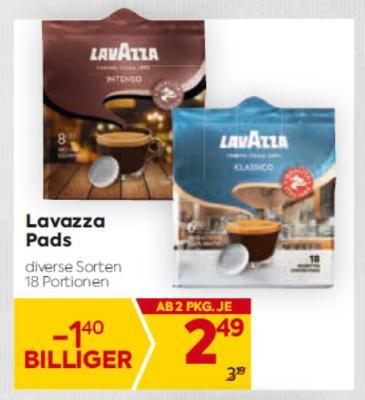 Lavazza Pads in diversen Sorten um € 2,49