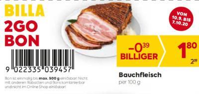 Billa 2GO Bon: Bauchfleisch um € 0,39 billiger.