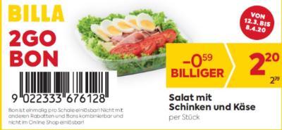 Billa 2GO Bon: Salat mit Schinken und Käse um € 0,59 billiger.